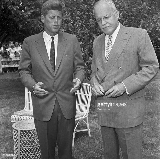 Presidential candidate Senator John F Kennedy meets with Allen Dulles the director of the Central Intelligence Agency Dulles and Kennedy met on July...