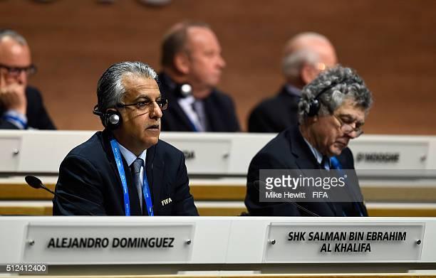 Presidential candidate Sheikh Salman Bin Ebrahim Al Khalifa listens with FIFA Vice President Angel Maria Villar Llona during the Extraordinary FIFA...