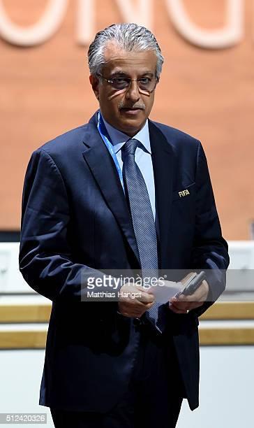 Presidential candidate Sheikh Salman Bin Ebrahim Al Khalifa looks on during the Extraordinary FIFA Congress at Hallenstadion on February 26 2016 in...