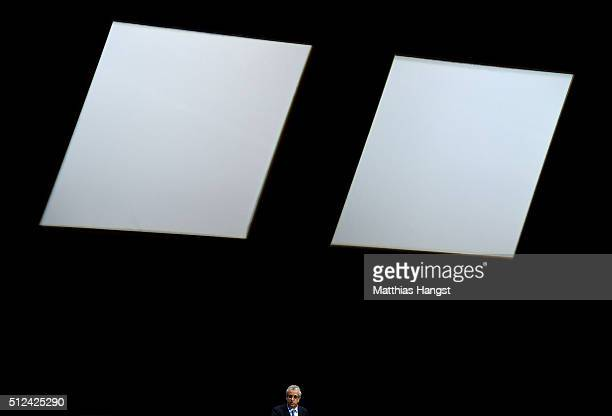 Presidential candidate Sheikh Salman Bin Ebrahim Al Khalifa talks during the Extraordinary FIFA Congress at Hallenstadion on February 26 2016 in...