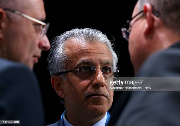 Presidential candidate Sheikh Salman Bin Ebrahim Al Khalifa talks to colleagues during the Extraordinary FIFA Congress at Hallenstadion on February...