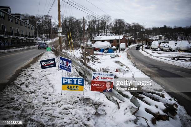 Presidential candidate signs are pictured in Dover NH on Feb 9 two days before the New Hampshire primaries The town of Dover is considered a...