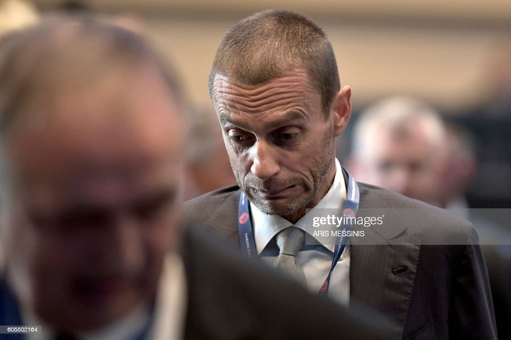 Presidential candidate, Slovenian Aleksander Ceferin is pictured during the 12th Extraordinary UEFA congress in Lagonissi, some 40 kilometers south of Athens, on September 14, 2016. Disgraced football leader Michel Platini said on September 14 in a farewell speech to UEFA that he felt no guilt over a $2 million payment from FIFA that has seen him suspended for four years. / AFP / ARIS