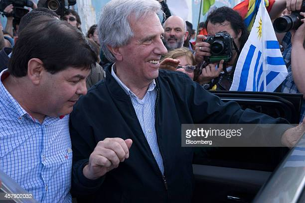 Presidential candidate Tabare Vazquez of the Broad Front party greets supporters after voting in Montevideo Uruguay on Sunday Oct 26 2014 Polls show...