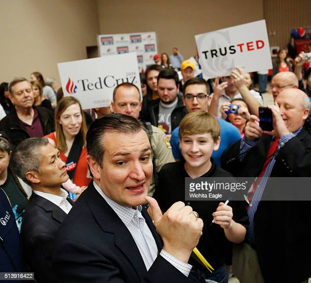 GOP Presidential candidate Ted Cruz meets with supporters after addressing the Kansas GOP caucus at Century II in Wichita Kan on Saturday March 5 2016