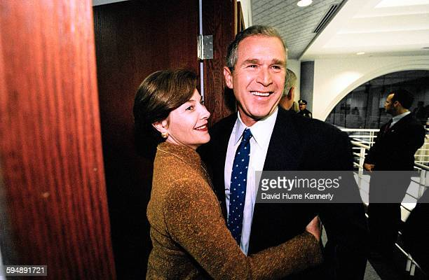Presidential candidate Texas Gov George W Bush with his wife Laura Bush after the televised 'The Republicans A New Hampshire Forum' primary debate...
