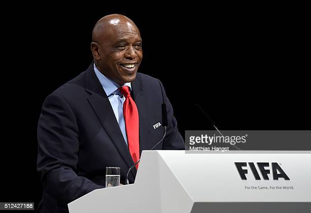 Presidential candidate Tokyo Sexwale smiles on stage during the Extraordinary FIFA Congress at Hallenstadion on February 26 2016 in Zurich Switzerland