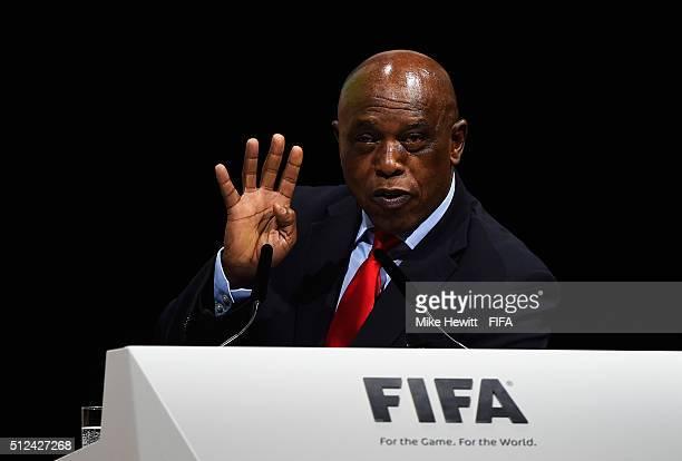 Presidential candidate Tokyo Sexwale talks during the Extraordinary FIFA Congress at Hallenstadion on February 26 2016 in Zurich Switzerland