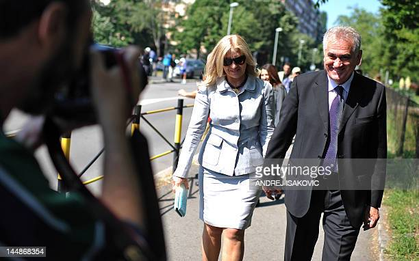 Presidential candidate Tomislav Nikolic, leader of Serbian Progressive Party , leave a polling station on May 20 in Belgrade. Serbians vote for a new...