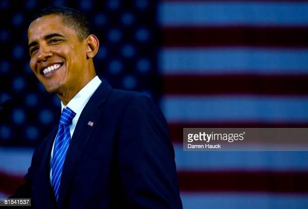 Presidential candidate US Sen Barack Obama speaks at a town hall meeting at Kaukauna High School June 12 2008 in Kaukauna Wisconsin In a recent poll...