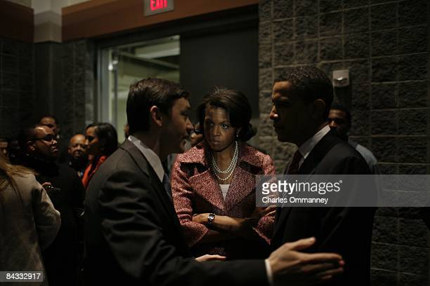 Presidential candidate US Senator Barack Obama and his wife Michelle Obama and their team and personal friends backstage before going out to take the...