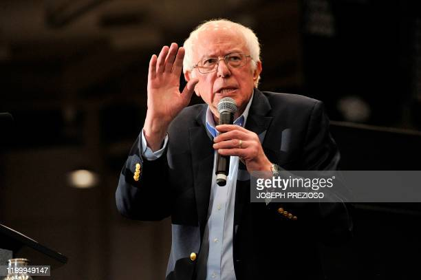 Presidential Candidate Vermont Senator Bernie Sanders speaks during a rally at the University of New Hampshire in Durham New Hampshire on February 10...