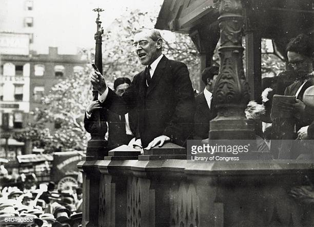 Presidential candidate Woodrow Wilson speaks to a crowd in Union Square.
