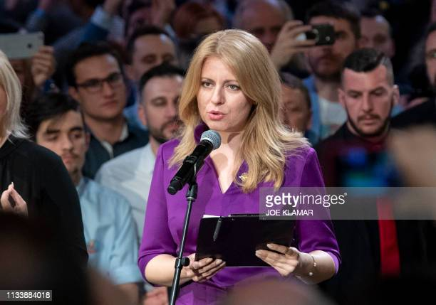 TOPSHOT Presidential candidate Zuzana Caputova delivers a speech after winning the elections at her election's headquarters in Bratislava on March 30...
