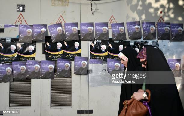 Presidential candidates' banners are seen along the streets ahead of the presidential elections that will be held on 19th of May in Tehran Iran on...