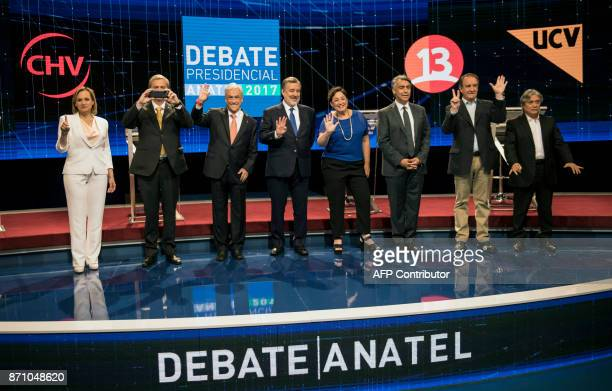 Presidential candidates Carolina Goic from Christian Democracy Jose Antonio Kast from the Independent Party Sebastian Pinera from Chile Vamos...