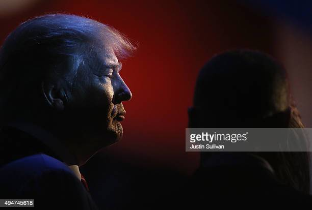 Presidential candidates Donald Trump is shown a break during the CNBC Republican Presidential Debate at University of Colorados Coors Events Center...