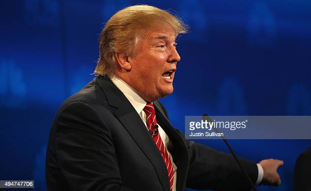 Presidential candidates Donald Trump speaks during the CNBC Republican Presidential Debate at University of Colorados Coors Events Center October 28...