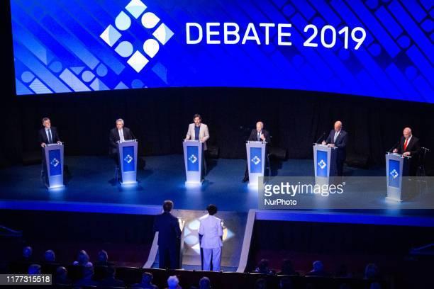 Presidential candidates during the debate Nicolas del Cano Roberto Lavagna current President Mauricio Macri Alberto Fernandez Juan Jose Gomez...
