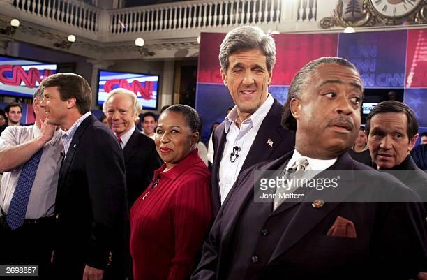 Presidential candidates former Vermont governor Howard Dean Sen John Edwards Sen Joe Lieberman former senator Carol Moseley Braun Senator John Kerry...