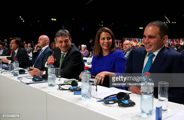 Presidential candidates Gianni Infantino Jerome Champagne and HRH Prince Ali Bin Al Hussein wait for the votes to be counted during the Extraordinary...