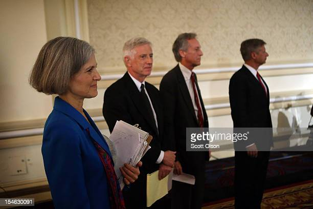 Presidential candidates Jill Stein of the Green Party Rocky Anderson of the Justice Party Virgil Goode of the Constitution Party and Gary Johnson of...