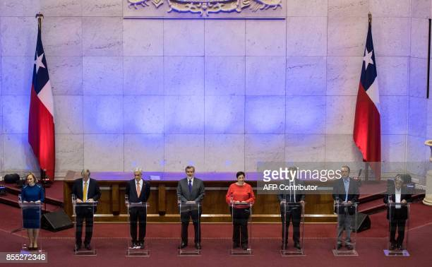 Presidential candidates Jose Antonio Kast from the Independent Party Sebastian Pinerafrom Chile Vamos Alejandro Guiller from the ruling party Beatriz...