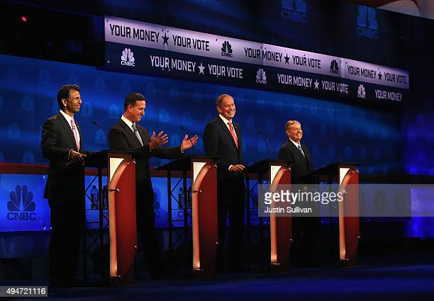 Presidential candidates Louisiana Governor Bobby Jindal Rick Santorum George Pataki and Sen Lindsey Graham take part in the CNBC Republican...