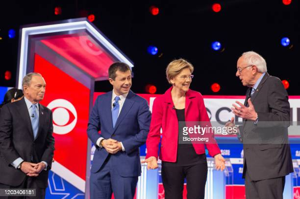 Presidential candidates Michael Bloomberg, founder of Bloomberg LP, from left, Pete Buttigieg, former mayor of South Bend, Senator Elizabeth Warren,...