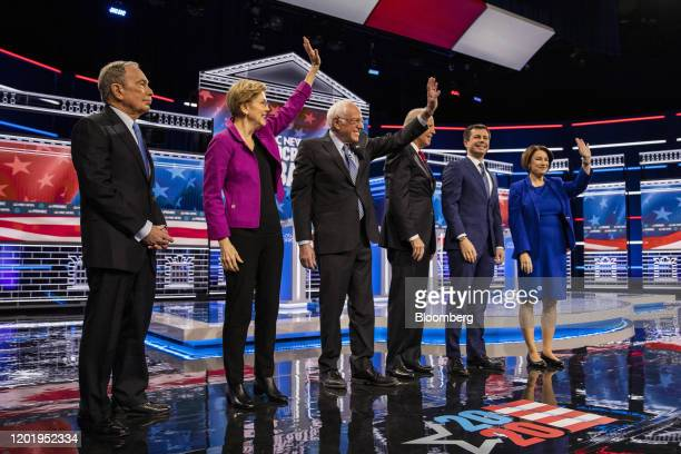 2020 presidential candidates Mike Bloomberg founder of Bloomberg LP from left Senator Elizabeth Warren a Democrat from Massachusetts Senator Bernie...