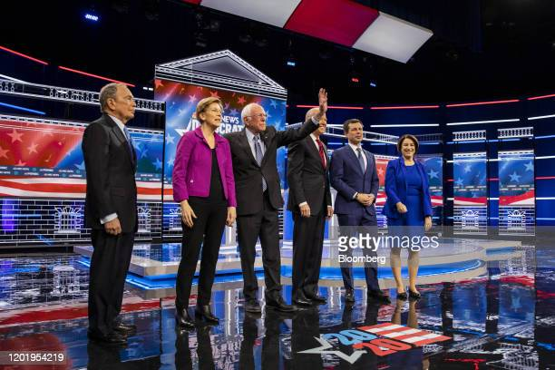 Presidential candidates Mike Bloomberg, founder of Bloomberg LP, from left, Senator Elizabeth Warren, a Democrat from Massachusetts, Senator Bernie...