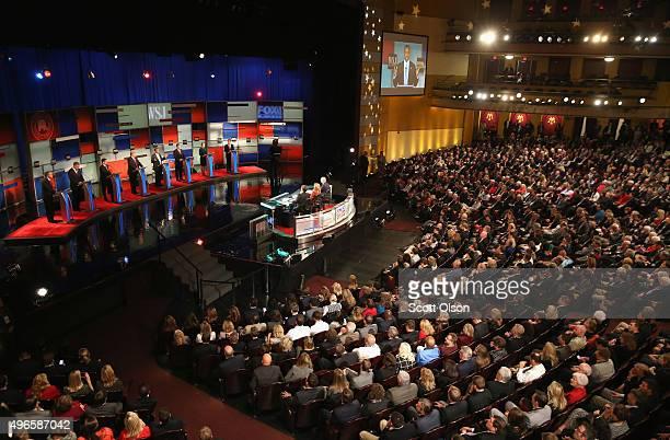 Presidential candidates Ohio Governor John Kasich Jeb Bush Sen Marco Rubio Donald Trump Ben Carson Ted Cruz Carly Fiorina and Sen Rand Paul take part...