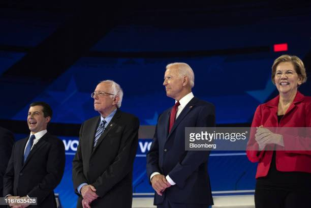 2020 presidential candidates Pete Buttigieg mayor of South Bend from left Senator Bernie Sanders an independent from Vermont Former US Vice President...