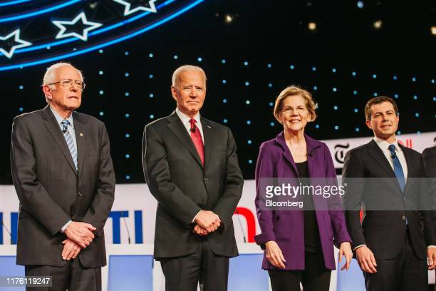 2020 presidential candidates Senator Bernie Sanders an independent from Vermont from left former US Vice President Joe Biden Senator Elizabeth Warren...