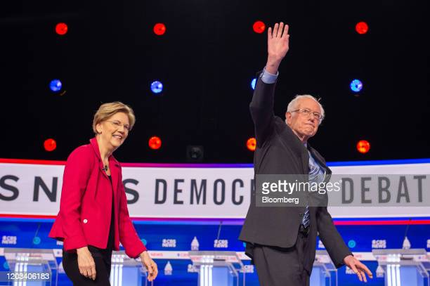 2020 presidential candidates Senator Elizabeth Warren a Democrat from Massachusetts left and Senator Bernie Sanders an Independent from Vermont...