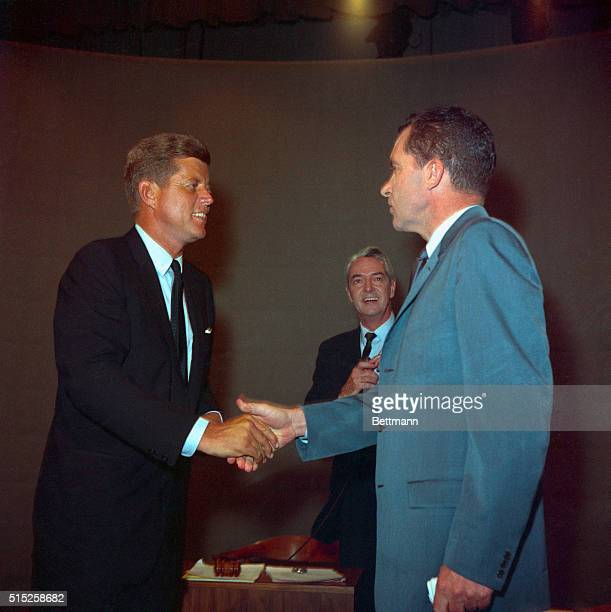Chicago Illinois USA Presidential nominees Kennedy and Nixon smiling for the cameras prior to their appearing on first television debate