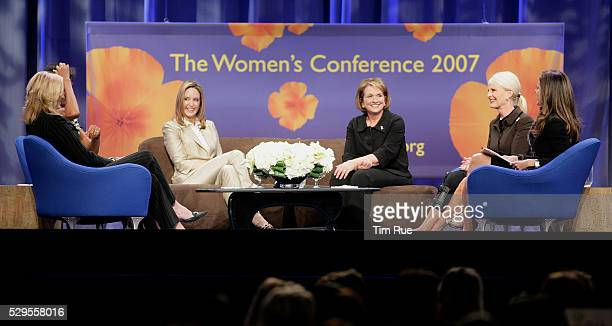 Presidential candidates wives Jeri Thompson Michelle Obama Ann Romney Elizabeth Edwards Cindy Hensley McCain with moderator Maria Shriver at the...