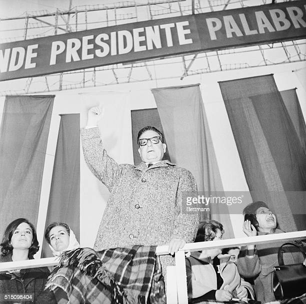 Presidential Contender Addresses Rally Santiago Chile Salvadore Allende SocialistCommunist presidential candidate addresses a rally of 45000...