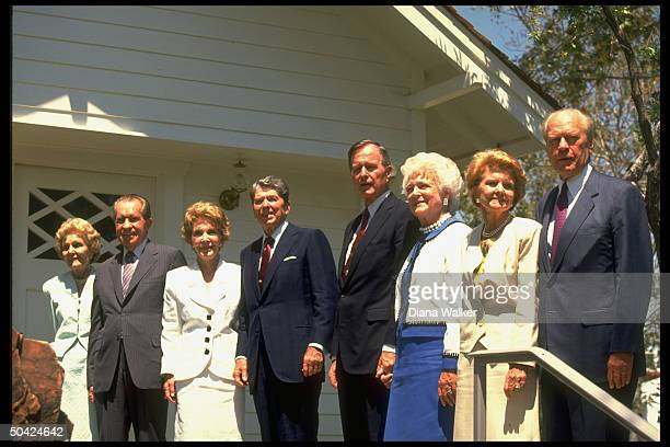 Presidential couples Gerald Betty Ford George Barbara Bush Ronald Nancy Reagan Dick Pat Nixon at Nixon Library Birthplace opening