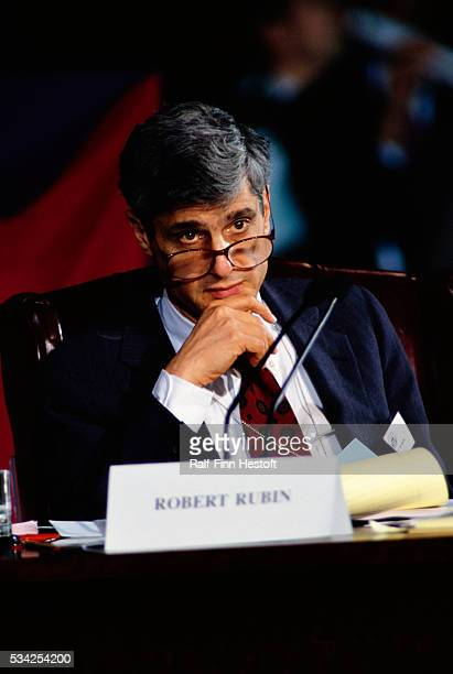 Presidential economic adviser Robert Rubin attends an economic summit in Washington DC Under the Clinton administration Rubin will later become the...