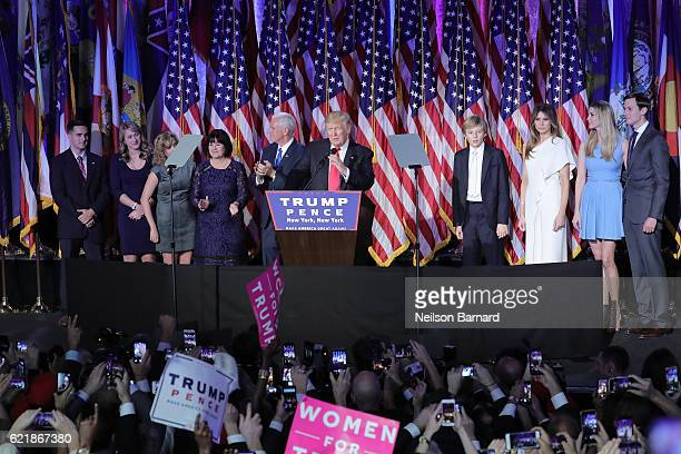 Presidential elect Donald J. Trump speaks on stage at his election night event at The New York Hilton Midtown on November 8, 2016 in New York City.
