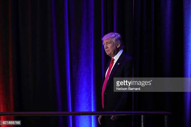 Presidential elect Donald J Trump walks on stage at his election night event at The New York Hilton Midtown on November 8 2016 in New York City