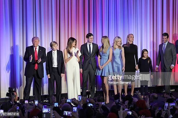 Presidential elect Donald J Trumpa and his family walk on stage at his election night event at The New York Hilton Midtown on November 8 2016 in New...
