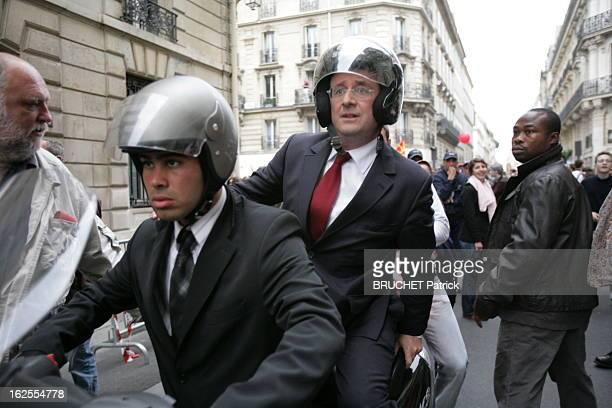 Presidential Election 2007 The Second Round Paris 6 mai 2007 Deuxième tour des élections présidentielles François HOLLANDE se fait conduire en scooter
