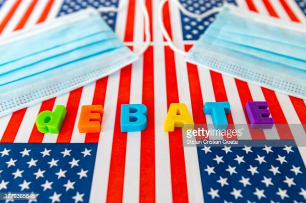 usa presidential election 2020. debate in covid19 pandemic crisis concept - presidential debate stock pictures, royalty-free photos & images