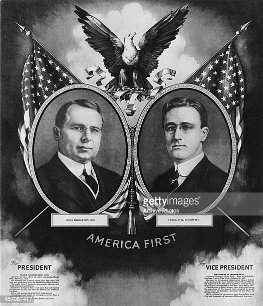 Presidential election campaign poster for James Middleton Cox for President and Franklin D. Roosevelt for Vice President, circa 1920.