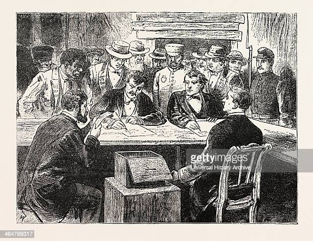 Presidential Election Counting The Votes Engraving 1876 Us USA America United States Elections Voting