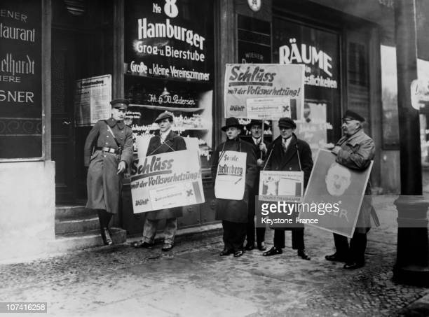 Presidential Election Electoral Posters With The Four Candidates Outside Of A Polling Station In Berlin On March 14Th 1932