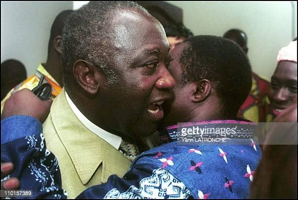 Presidential election in Abidjan Cote d'Ivoire on October 22 2000 1200 Militants congratulate presumed winner Bagboy