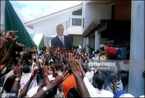 Presidential election in Abidjan Cote d'Ivoire on October 22 2000 Bagboy HQ after Gbagbo's press conference Smells like victory